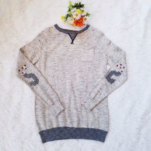 Zara Pull Over Knit Elbow Patch Sweater Size M